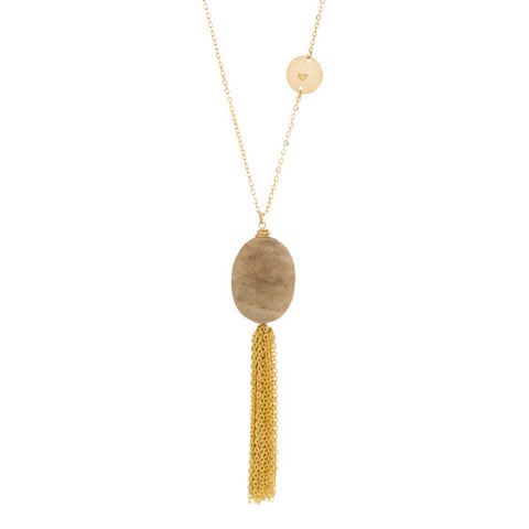taudrey game of stone long necklace beige stone gold tassel