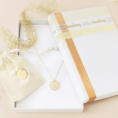 taudrey holiday gift set bundle bride wedding gift dainty gold necklace glass stem charm