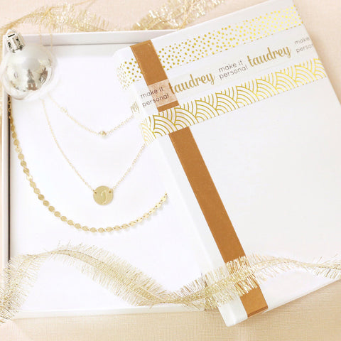 taudrey gift bundle set three gold dainty layered necklaces personalized