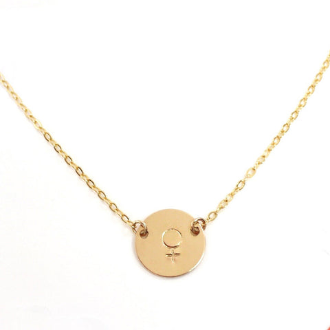 taudrey female venus symbol sign hand stamped dainty gold necklace in support of shes the first organization