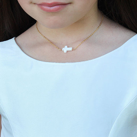 taudrey girls kids pearl cross blessed necklace communion styled