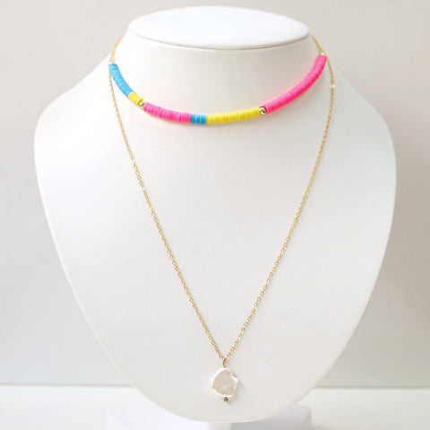 taudrey going to be all bright layered necklace bright beads pearl accent
