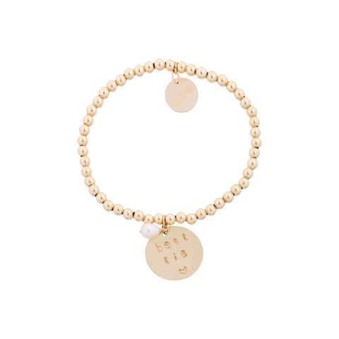 taudrey best tia gold beaded bracelet with personalized gold charm tia aunt mothers day gift