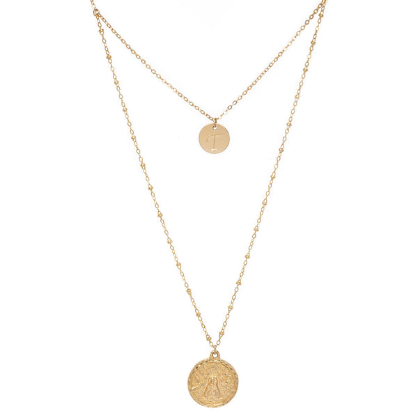 taudrey gold medal necklace pre layered dainty gold personalized charm medallion detail