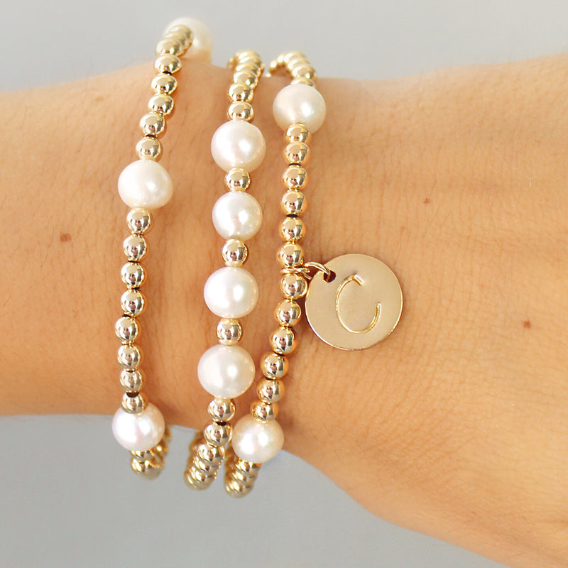 taudrey gold mine personalized bracelet set gold beaded bracelets pearl accents and personalized gold coin