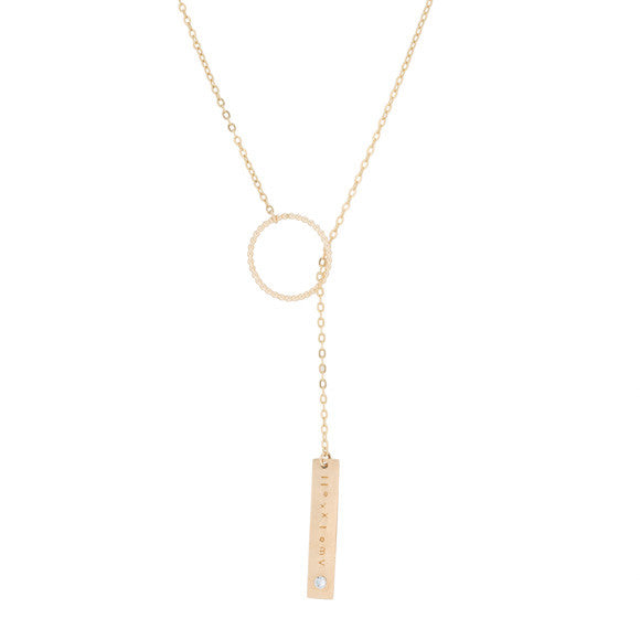 taudrey gold pull through chain ring it necklace with personalized plate