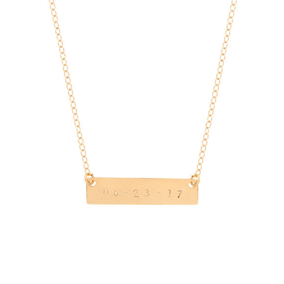 taudrey gold skinny date plate hand stamped necklace