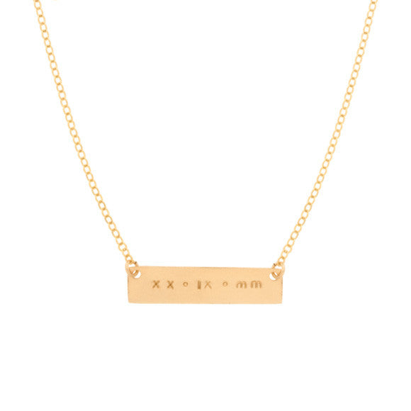 taudrey gold skinny date plate hand stamped roman numeral date plate necklace