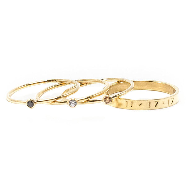 taudrey ring stacks golden girls four piece personalized ring stack