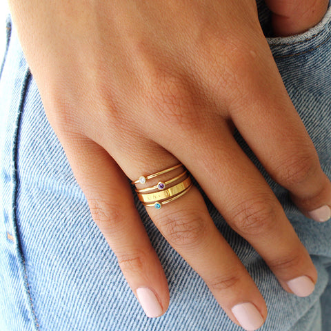taudrey ring stack crystal details gold personalized band