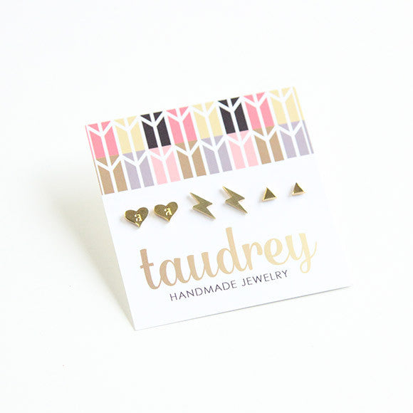 taudrey good shape gift set gold studs personalized