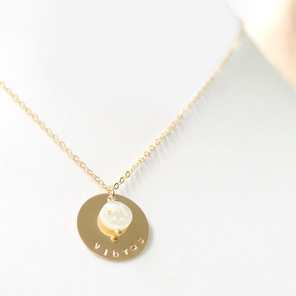 taudrey good vibes necklace peace sign pearl charm gold personalized charm