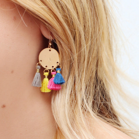 taudrey good vibes gold statement personalized tassel earrings on trend summer style white bold neon colors