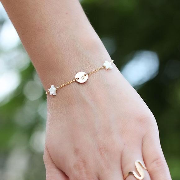 taudrey granted wish bracelet gold pearl star personalized