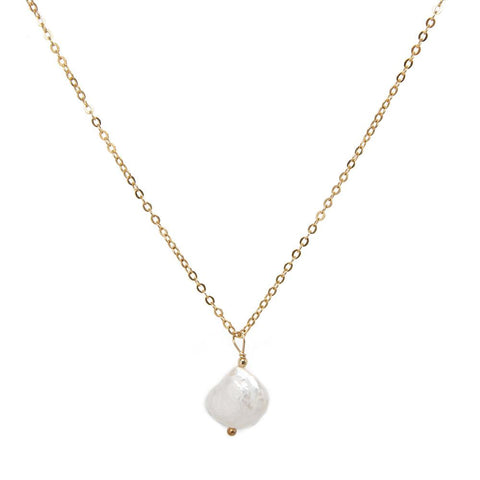 taudrey grit and grace necklace gold chain textured natural pearl detail