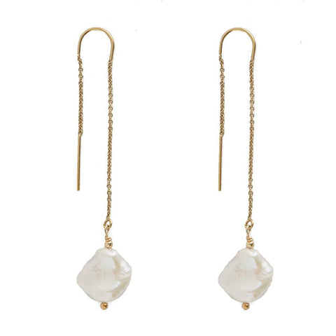taudrey grit and grace pull through earrings hanging naturally shaped flat pearl