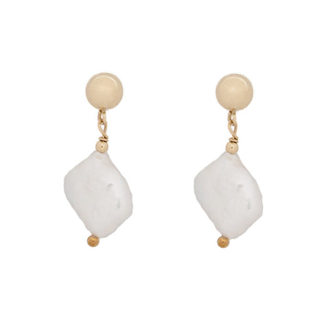 taudrey grit and grace stud earrings gold stud naturally shaped dropped pearl detail