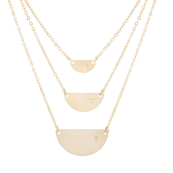 taudrey half moon over miami layered semi circle gold necklace