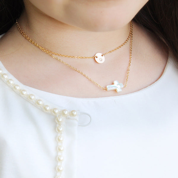 taudrey girls kids beyond blessed necklace blessed pearl cross communion