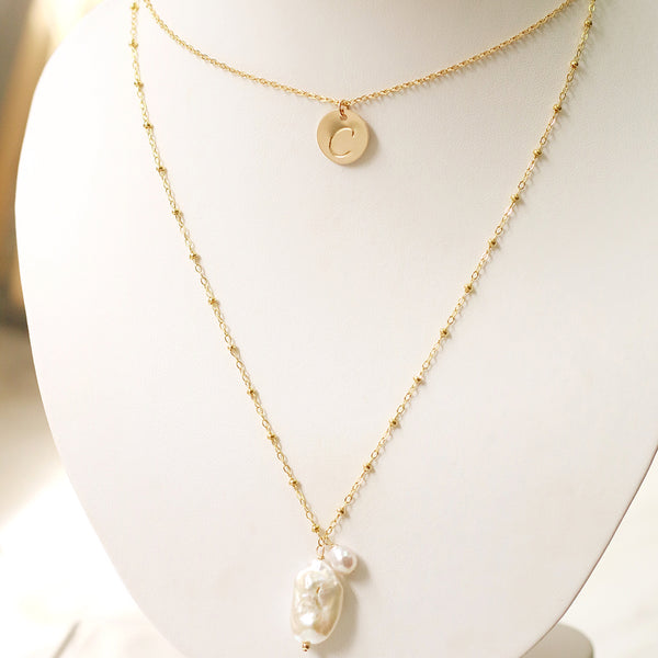 taudrey hang in there pre layered personalized charm dangling pearl accents handcrafted necklace