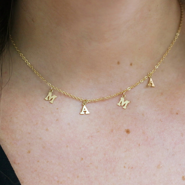 taudrey hang with mama gold chain handing letters mama necklace choker