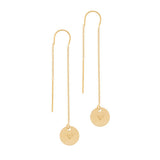 taudrey hanging by a thread gold pull through personazlied earring