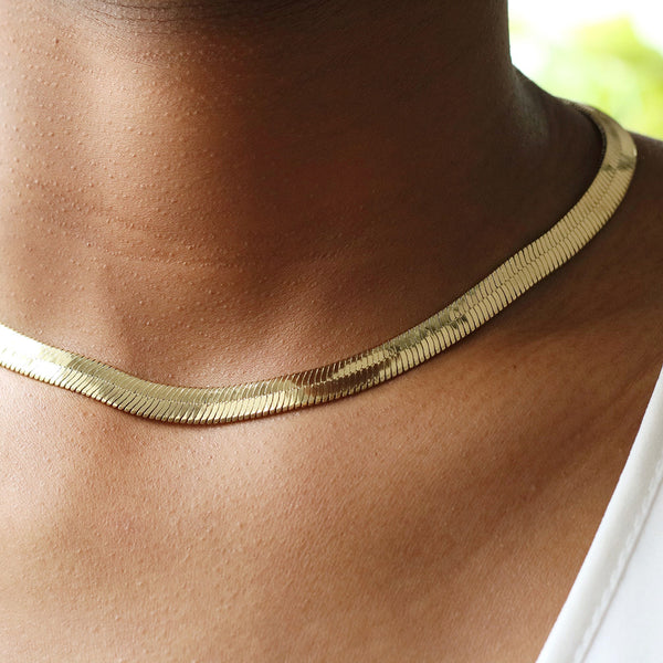 taudrey happiness necklace herringbone chain