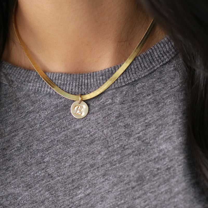 taudrey happy and you know it gold herringbone necklace personalized charm