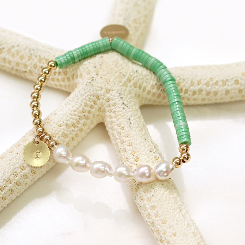 taudrey happy as a clam pearl jade shiny beads personalized charm bracelet-