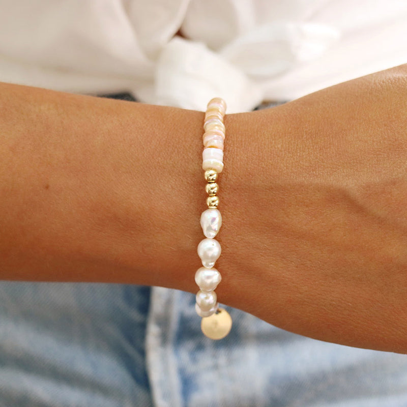 taudrey happy as a clam pearl neutral shiny beads personalized charm bracelet-