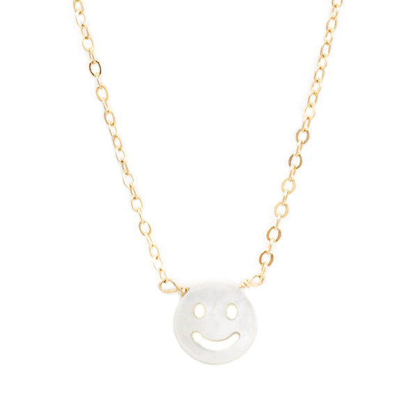 taudrey pearl happy smiley face gold necklace