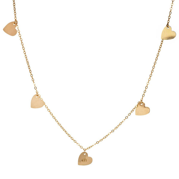 taudrey heartbeat necklace personalized gold dangling heart charms
