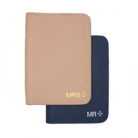 taudrey honeymooners matching wedding mr mrs personalized embossed blush navy passport holders wallets