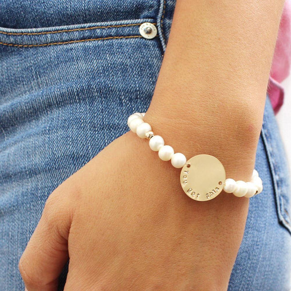 taudrey breast cancer awareness pearl beaded bracelet personalized charm
