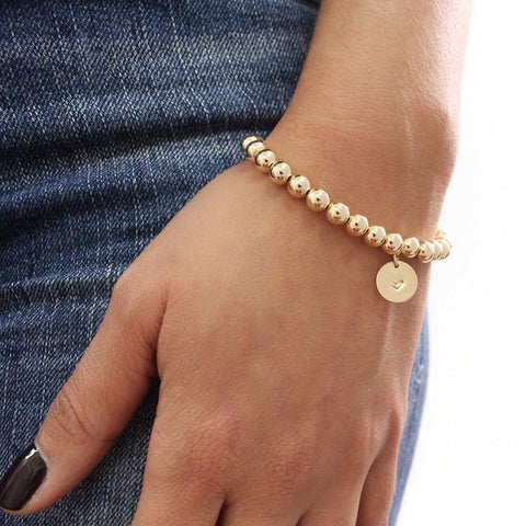 taudrey how gold are you large gold bead bracelet personalized charm