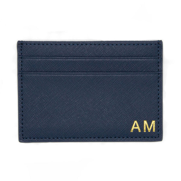 taudrey mens mr smooth credit card business card case wallet leather personalized embossed gold silver navy black cross hatch Saffiano leather