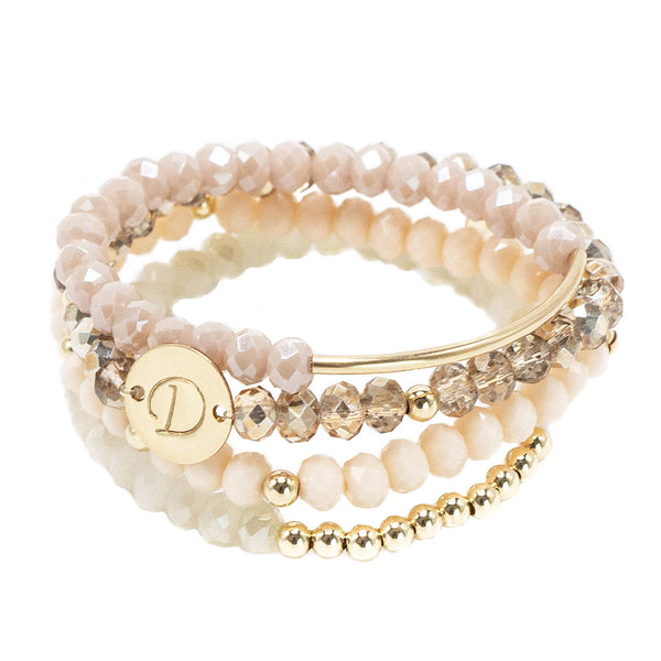 taudrey ice cream beaded bracelet set mauve cream blush rose gold accents personalized gold charm