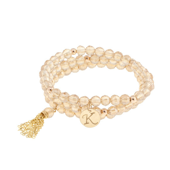 taudrey im blushing blush rose beaded bracelet set gold tassel