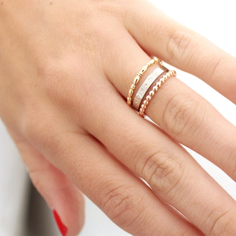 taudrey ring stack in the mix mixed metals gold rose gold silver personalized band