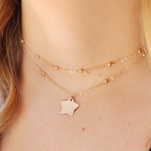taudrey india batson youtube vlogger blogger collection piece layered personalized gold star charm choker necklace