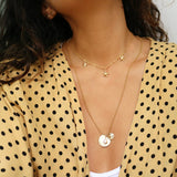 taudrey just keep swimming necklace personalized charm pearl sand dollar details details