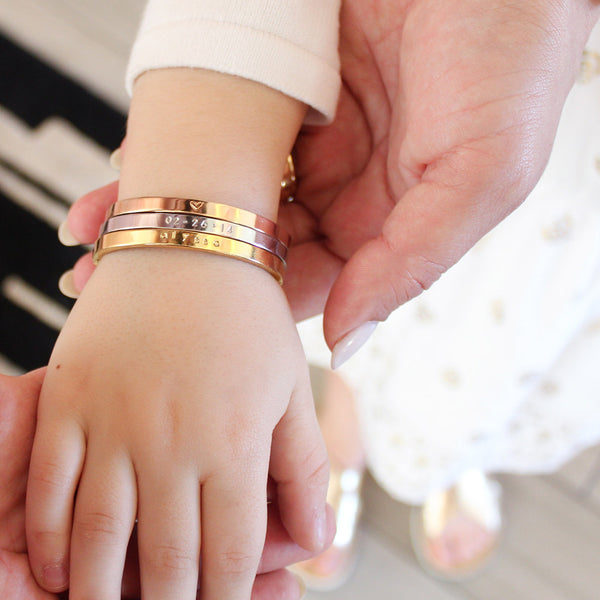 taudrey just like mommy three bangle set gold rose gold and silver
