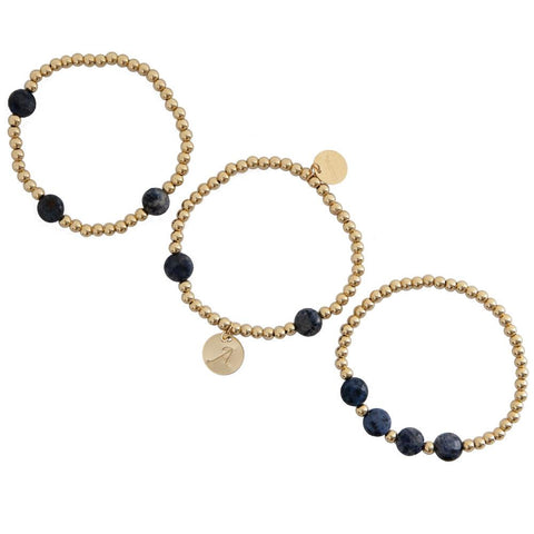 taudrey keep it cool gold beaded bracelet set navy pebble details personalized gold charm