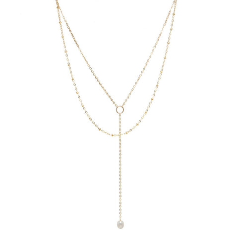 taudrey keep me in the loop necklace pre layered lariat style loop accent plunging chain pearl detail