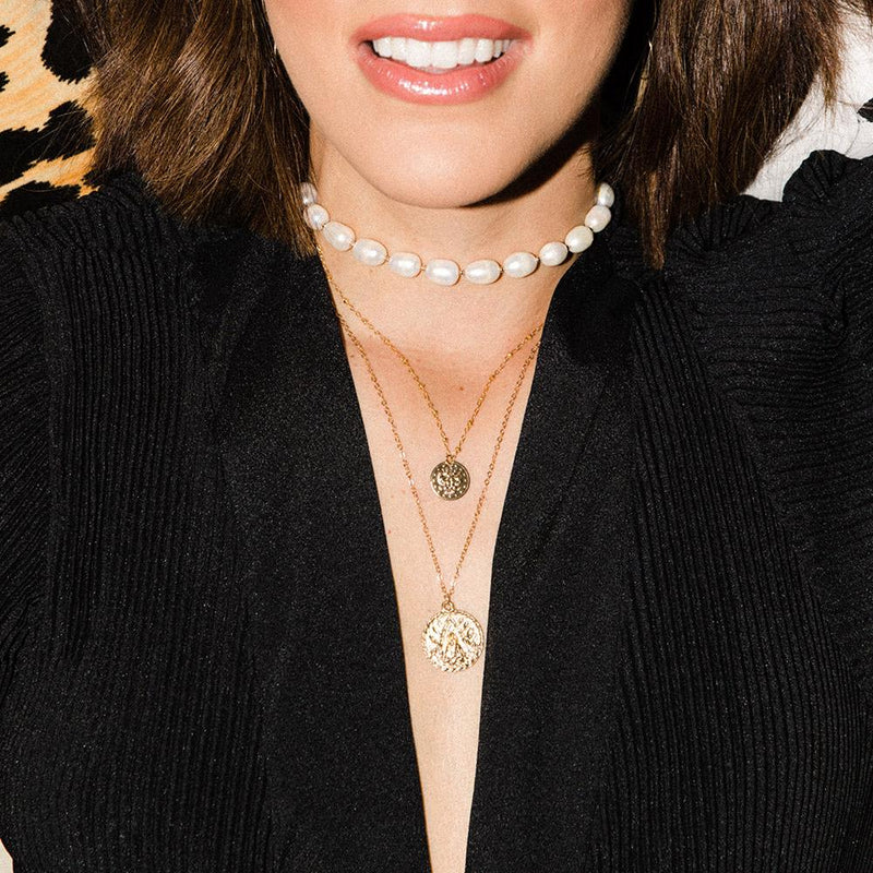 taudrey 3 wishes necklace kelly saks collaboration three layered pearl medallion coin personalized charm