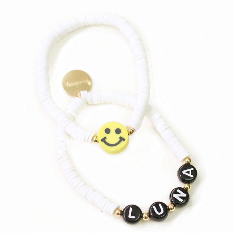 taudrey kids say cheese bracelet set white beads personalized letter block beads smiley happy face charm