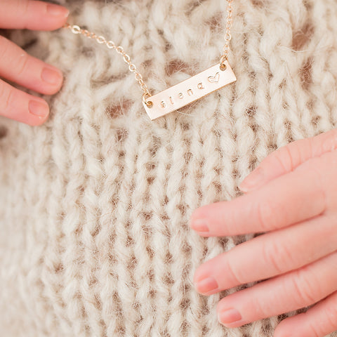 taudrey kids skinny autograph plate name hand stamped name necklace