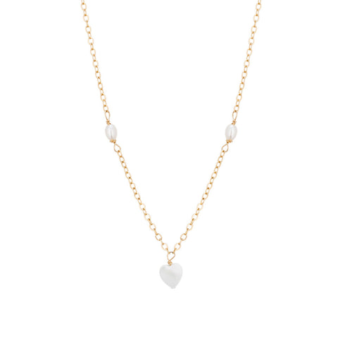 taudrey kids sweetheart necklace gold dainty necklace heart shaped pearl and petite pearl details
