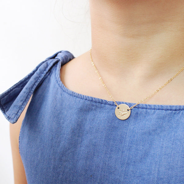 taudrey kids mini coin hand stamped unicorn symbol gold necklace