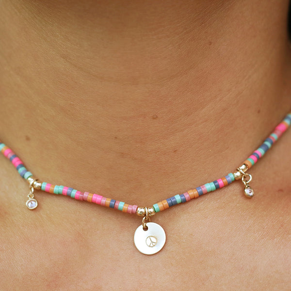 audrey la chica necklace colorful beads crystal accents personalized gold charms